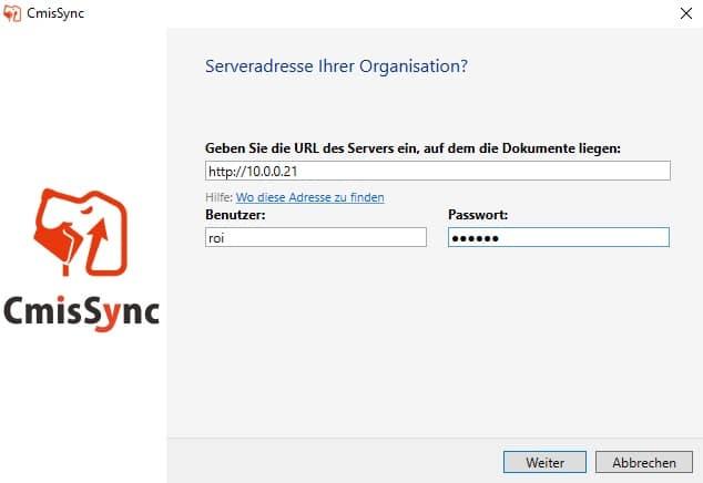 CmisSync Konfiguration agorum core