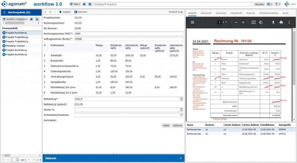 Rechnungseingang Workflow agorum core