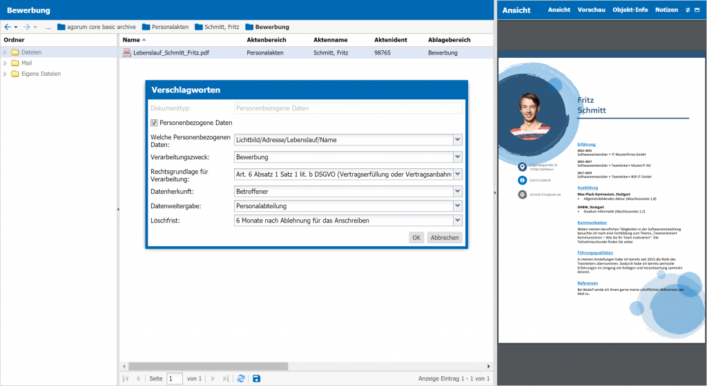 Verschlagwortung Personalakte DSGVO personenbezogene Daten