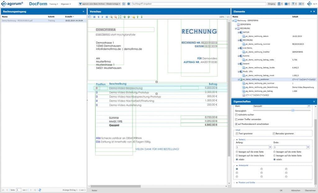 Dokumente trainieren fuer automatische Erfassung
