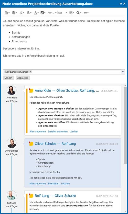 Screenshot Chat intern Notizen