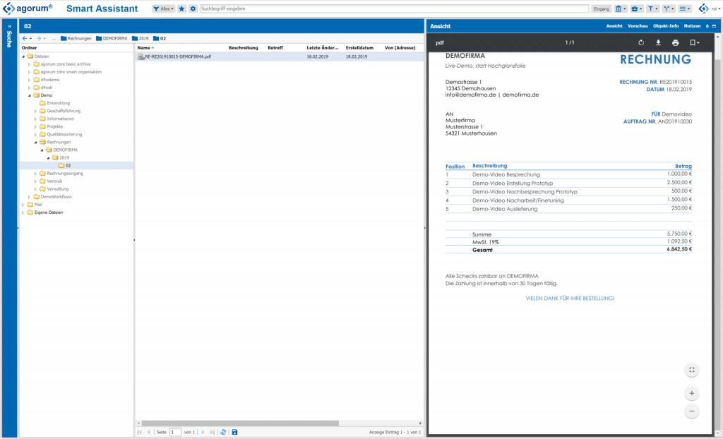 agorum core docform Dokumente automatisch in Ordner ablegen