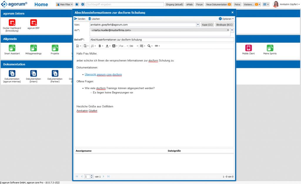 E-Mail schreiben und empfangen mit agorum core