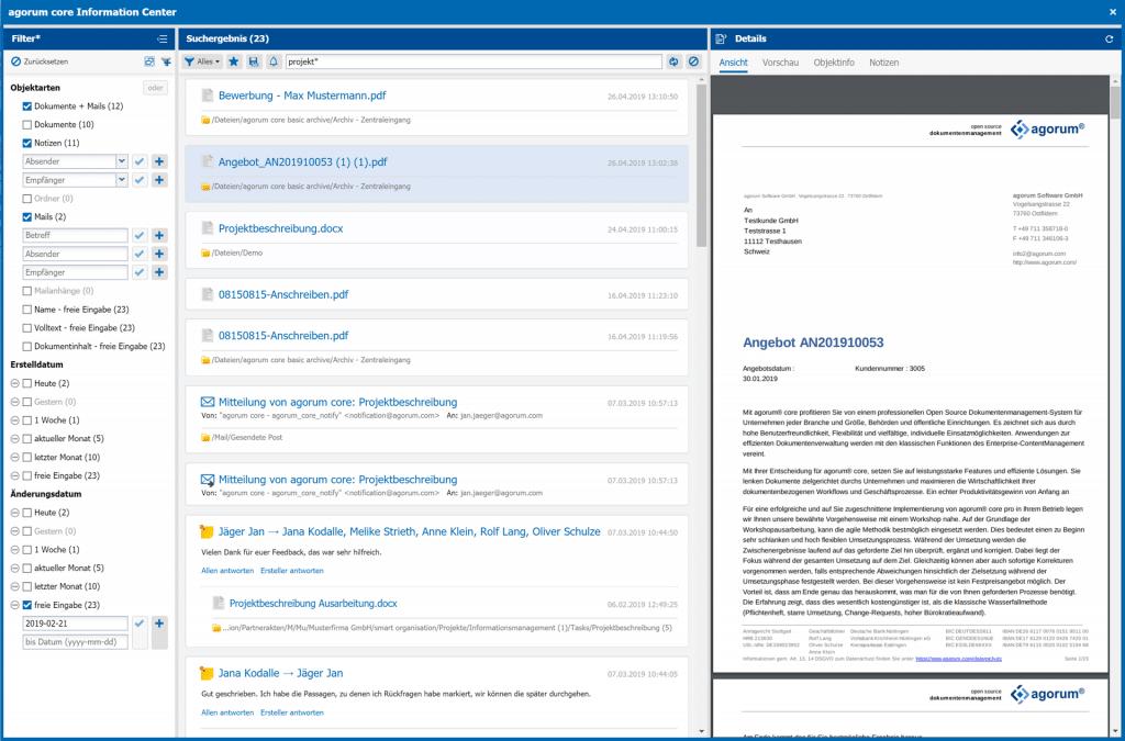 Ergebnisse Suche mit agorum core information center Dokumente Mails Dateien und Notizen