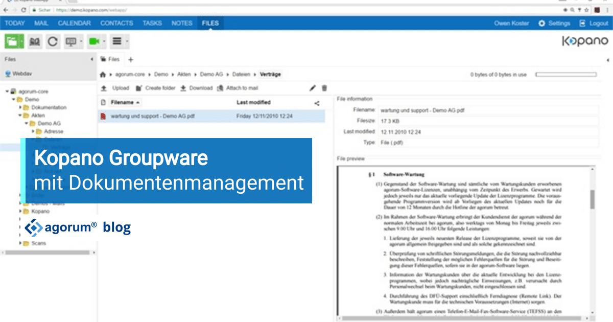 Kopano Groupware mit Dokumentenmanagement