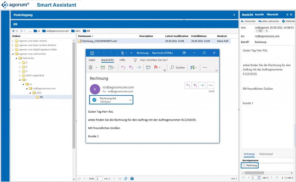E-Mail aus Outlook in agorum core öffnen