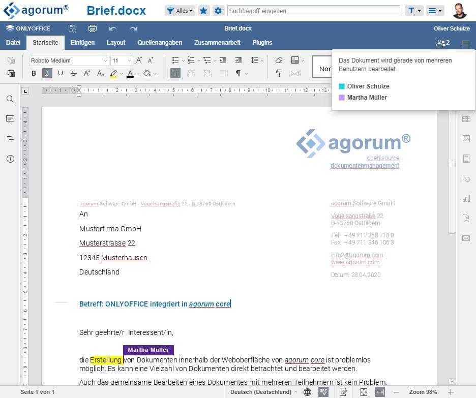 ONLYOFFICE in agorum core Dokumente gemeinsam bearbeiten