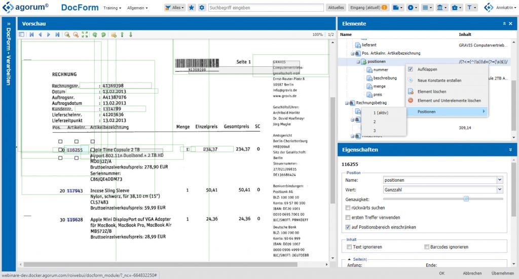 OCR Engine Rechnung auslesen agorum