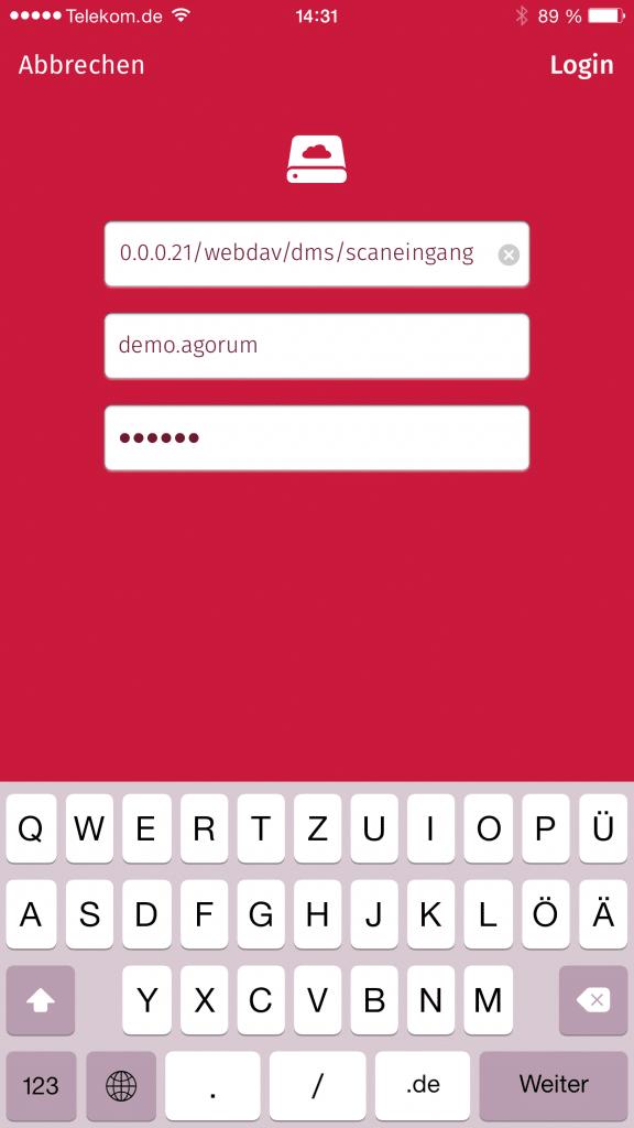 Scanbot Webdav Laufwerk agorum Dokumentenmanagement